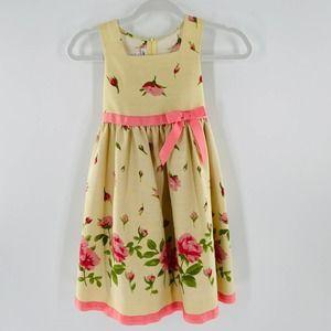 Bonnie Jean Floral Yellow-Pink Dress Girls Size 6X